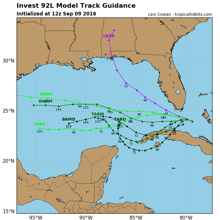 12z track guidance for invest 92-L initialized 12z 9/9/16