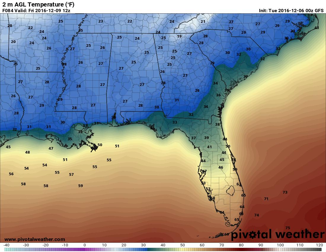 GFS temperature forecast valid Friday morning