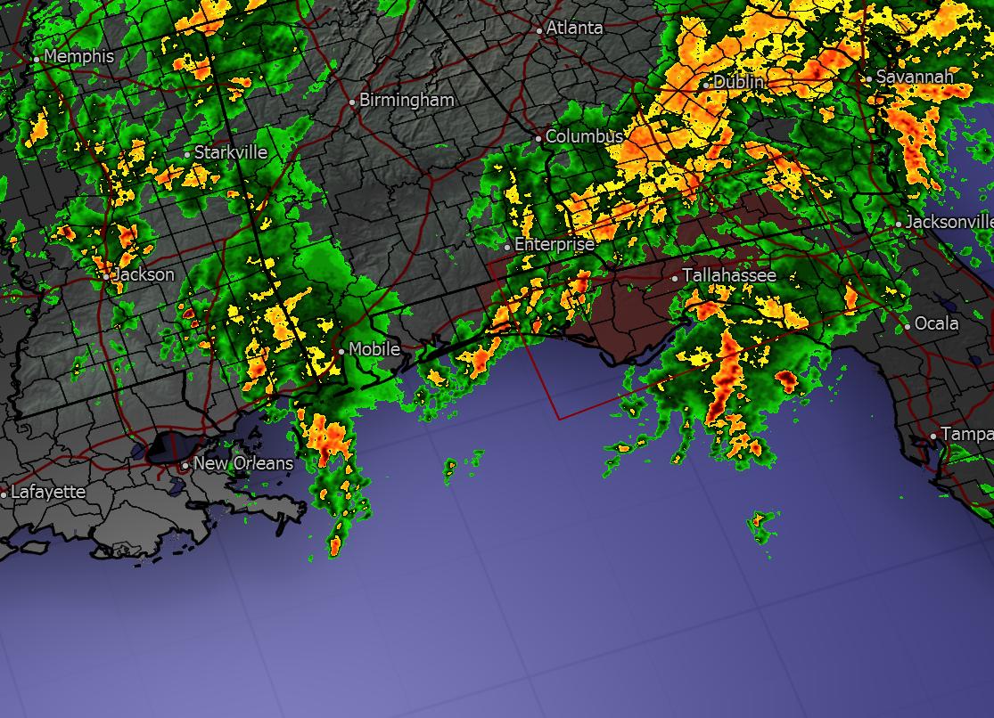 Regional radar as of 10:54pm CST