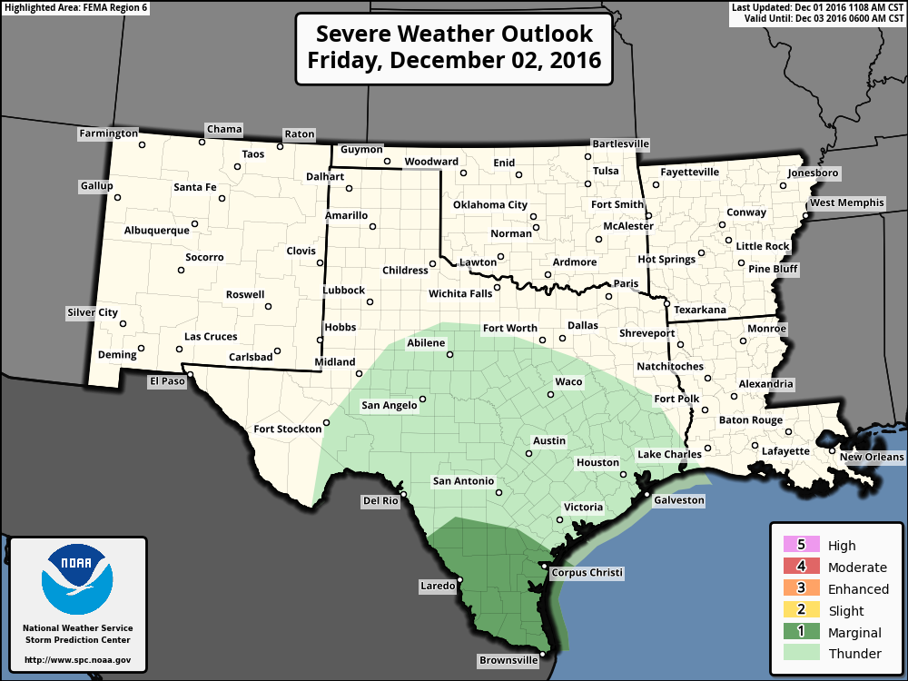 Storm Prediction Center convective outlook for tomorrow