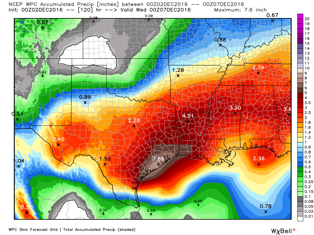 Weather Prediction Center QPF forecast for the next 5 days